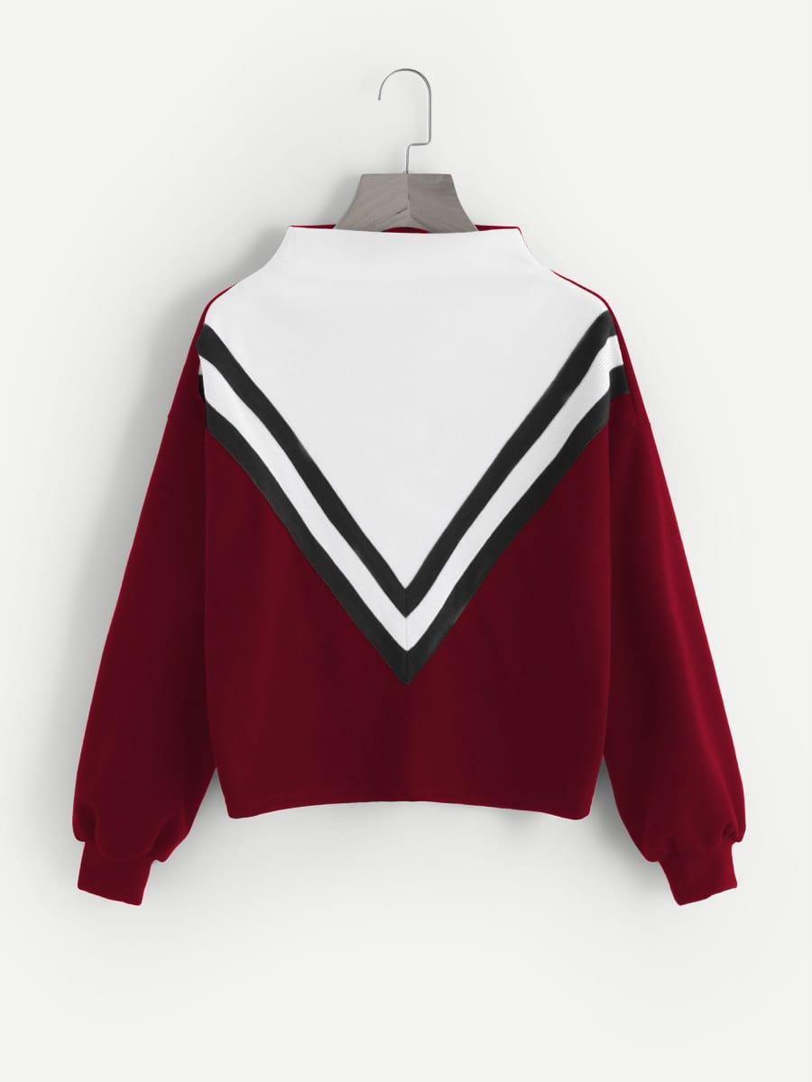Stripe Tape Detail Cut And Sew Sweatshirt striped woven tape detail two tone sweatshirt