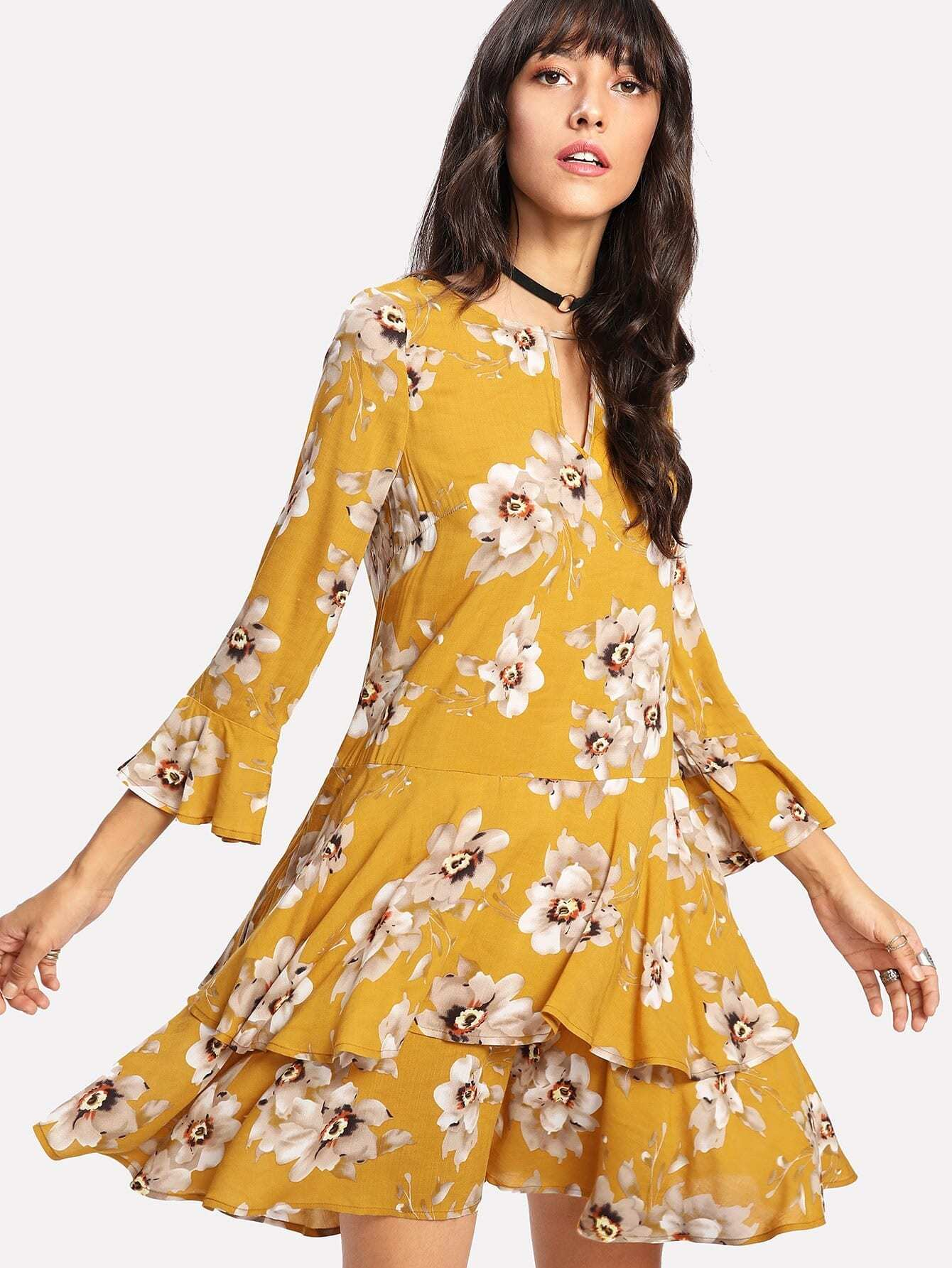 Drop Waist Ruffle Hem Floral Dress ключ matrix 15231