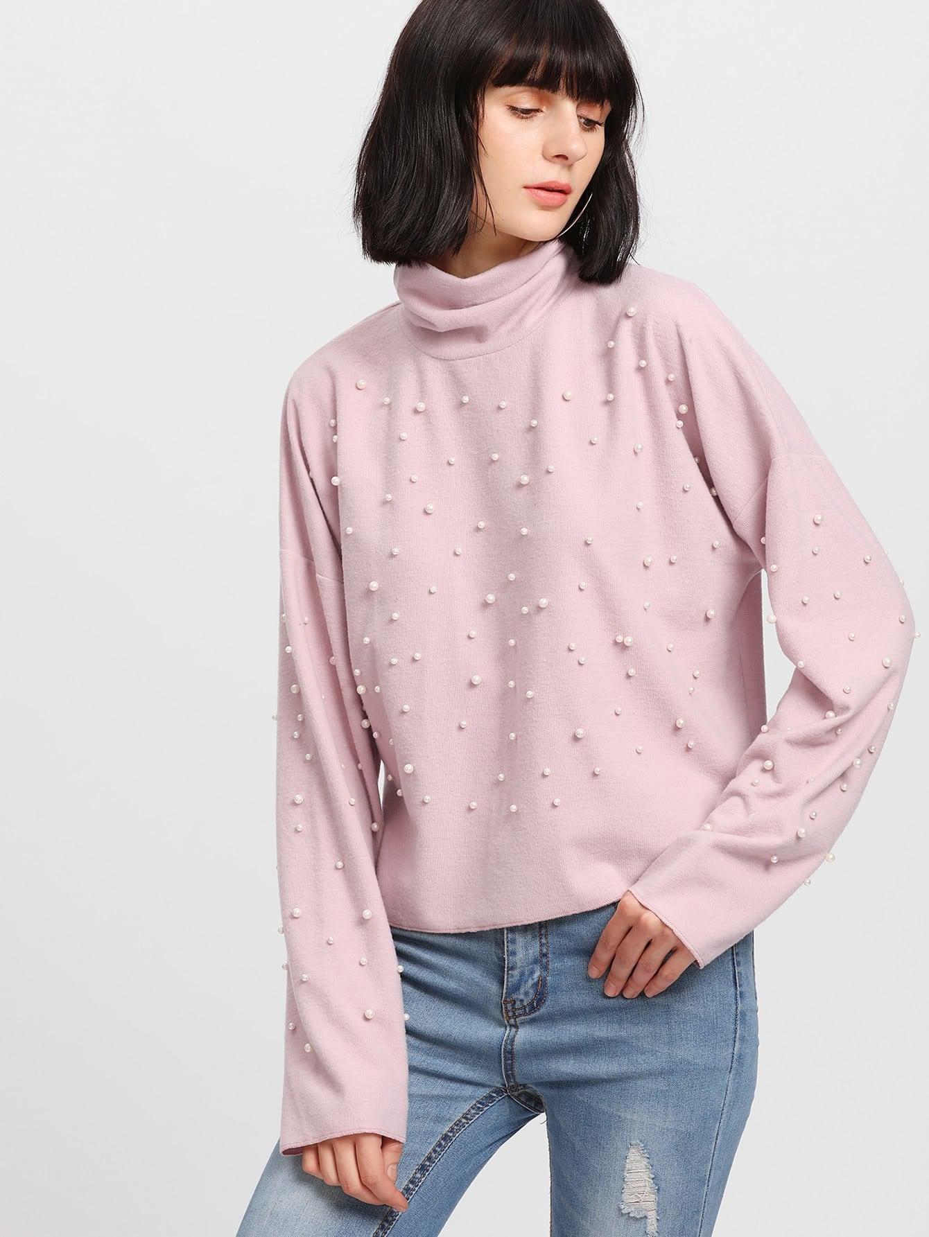 Pearl Beading Drop Shoulder Pullover pearl embellished drop shoulder heathered knit pullover