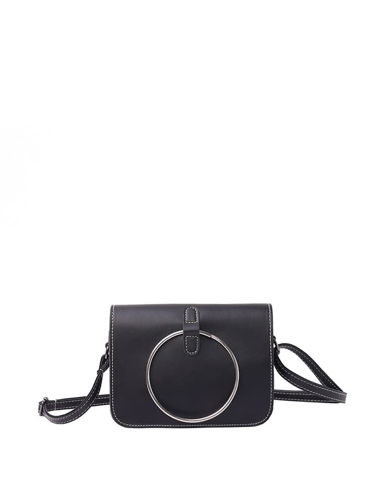 Ring Front Flap Shoulder Bag
