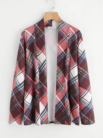 Elbow Patch Plaid Cardigan