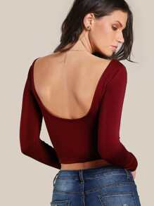 Scoop Back Crop T-shirt