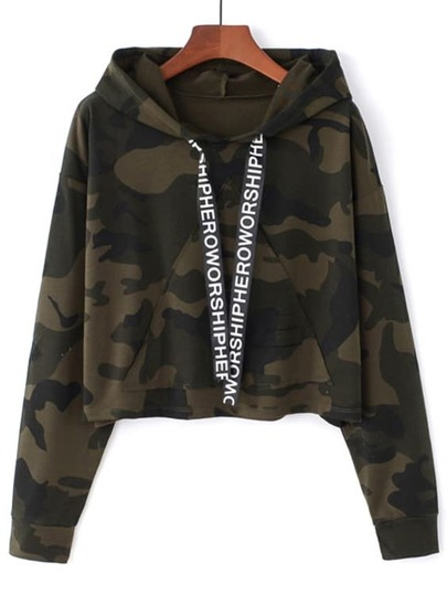 Letter Ribbon Detail Camo Hoodie