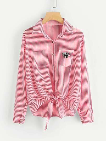 Cat Embroidered Patch Knot Front Striped Shirt