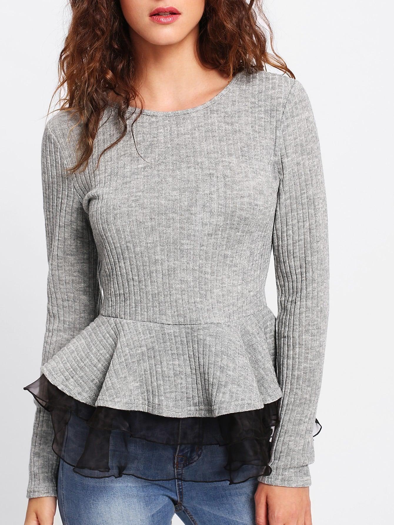 Contrast Mesh Trim Rib Knit Peplum Top ruffle shoulder rib knit peplum top