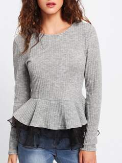Contrast Mesh Trim Rib Knit Peplum Top