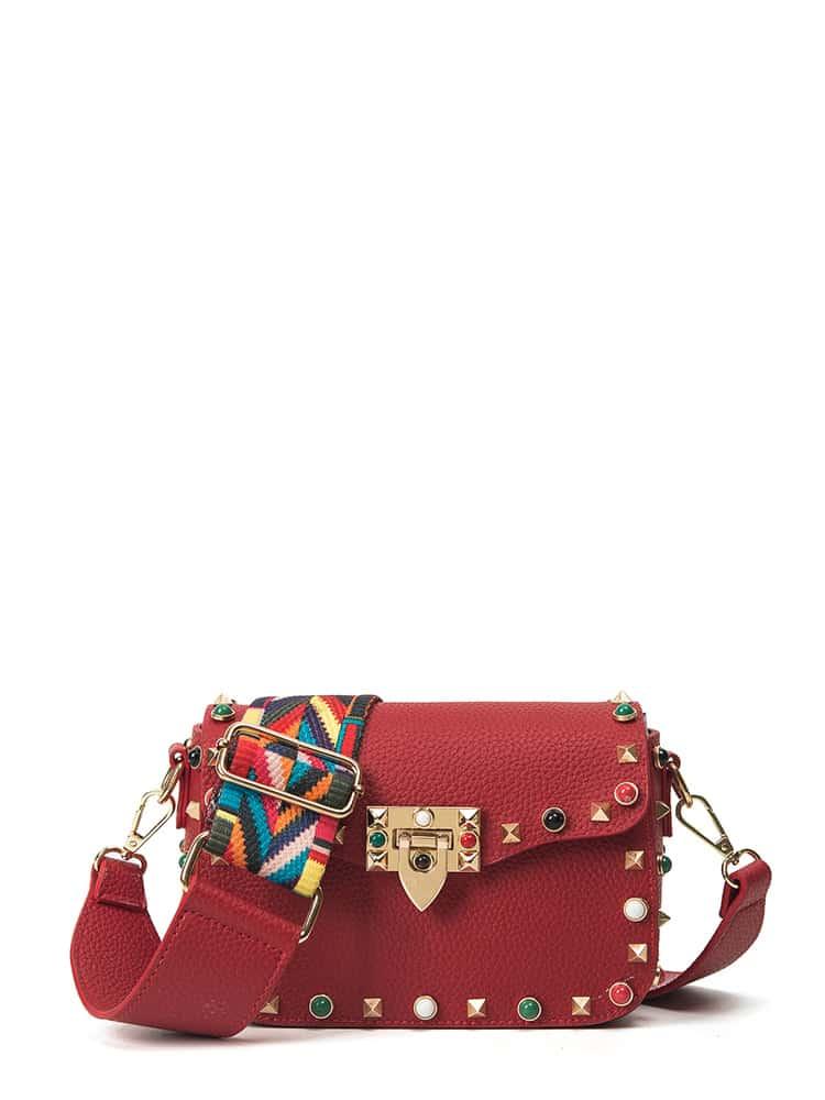 Купить Шипованная украшенная сумка на плечо PU, null, SheIn