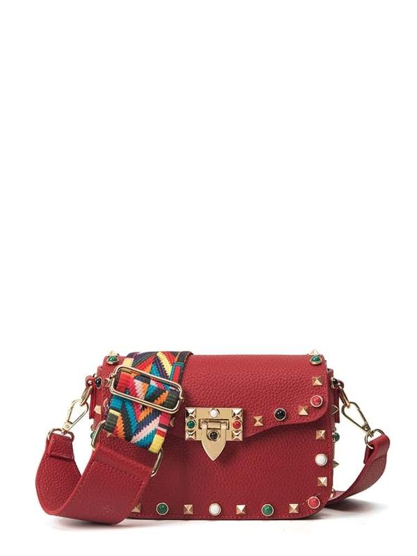 Studded Decorated Pu Shoulder Bag by Sheinside