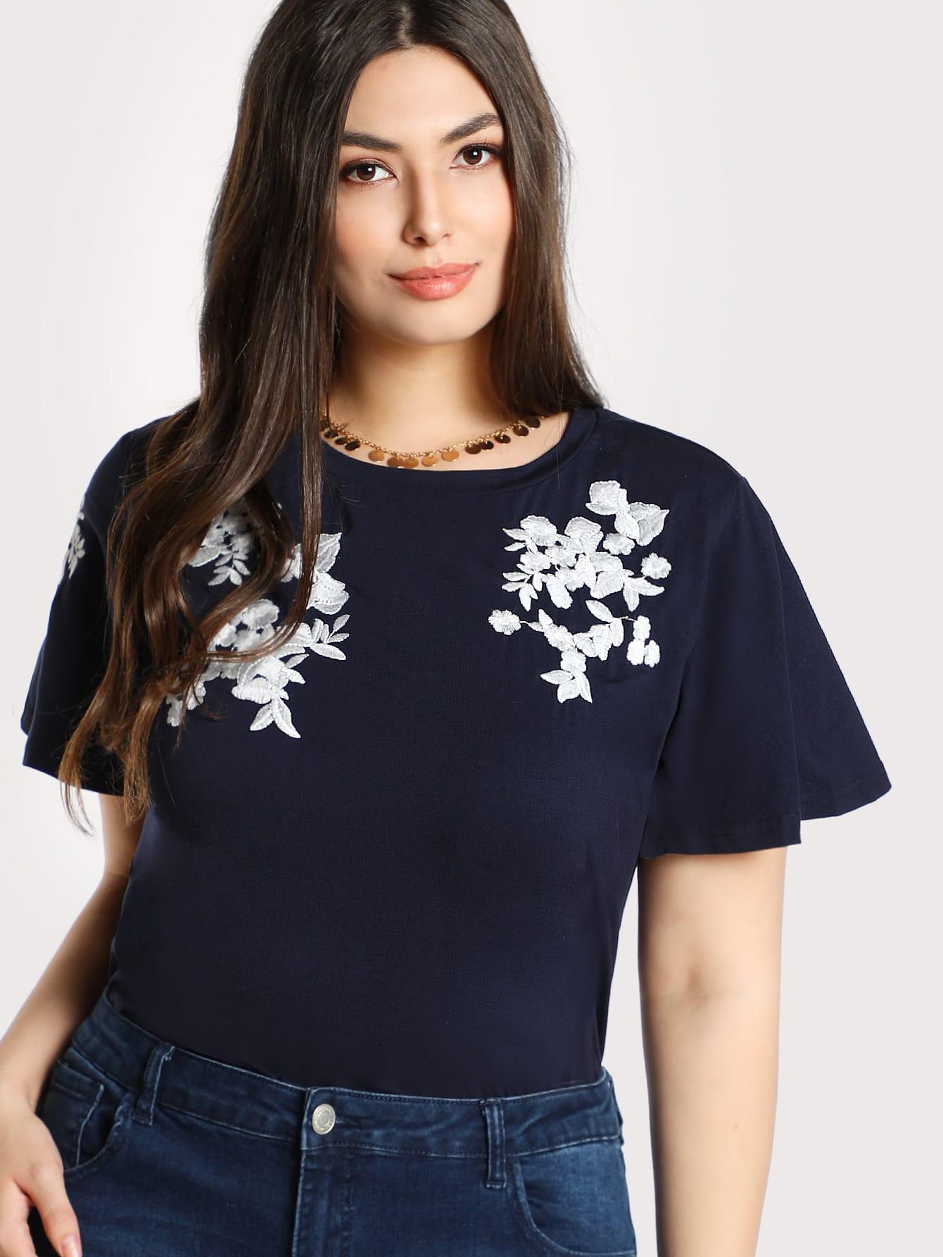 Flower Embroidered T-shirt redfox футболка flower t 42 4300 желтый