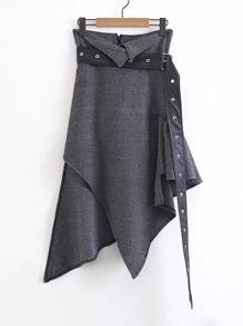 Asymmetrical Striped Skirt Wit Belt