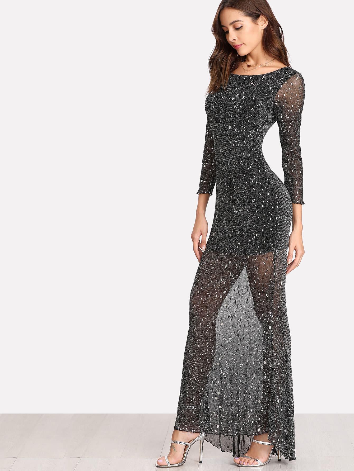 Купить Модное сетчатое платье с открытой спиной, Giulia, SheIn