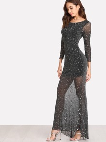 Lettuce Edge Open Back Sparkle Mesh Dress