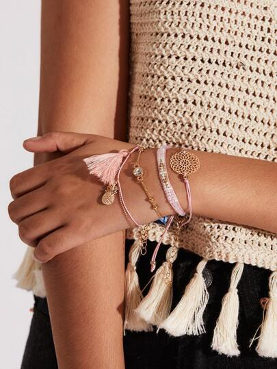 Tassel & Pineapple Design Bracelet Set