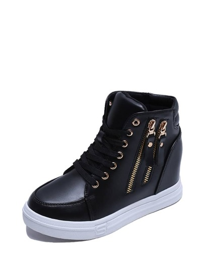 Double Zip Detail High Top Sneakers