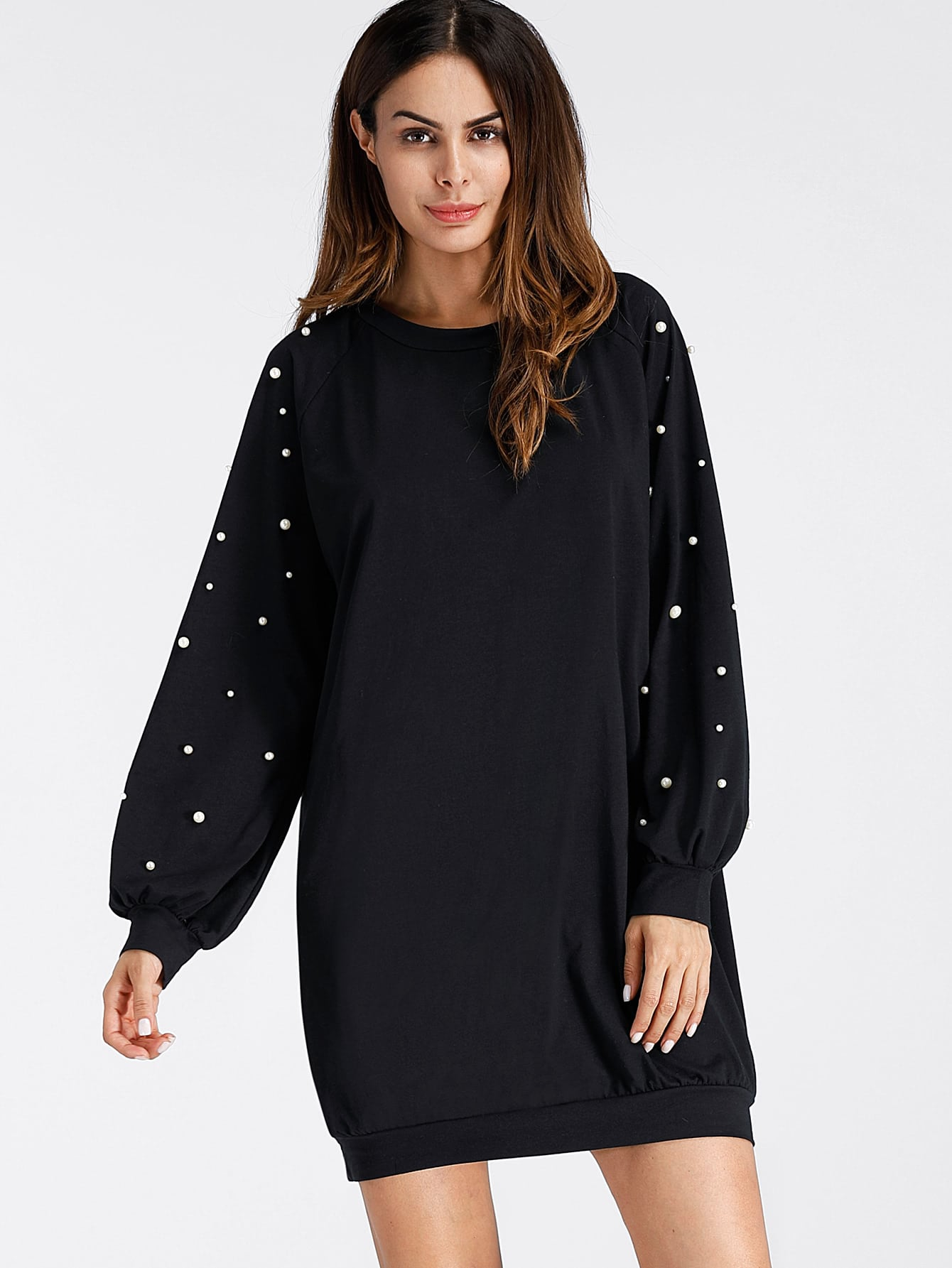 Pearl Beading Raglan Sweatshirt Dress dress171012102