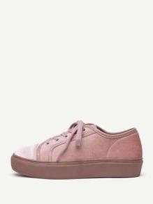 Модные бархатные кроссовки на платформе со шнуровкой