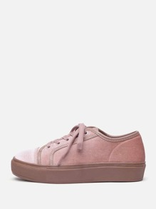 Lace Up Flatform Velvet Sneakers