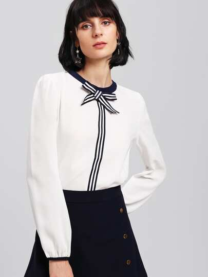 Stripe Contrast Bow Blouse