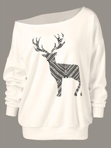 One Shoulder Elk Print Sweatshirt