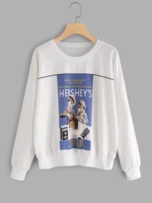 Graphic Print Drop Shoulder Sweatshirt