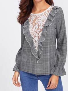 Contrast Lace Insert Ruffle Trim Plaid Top