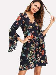 Flounce Sleeve Tiered Wrap Dress