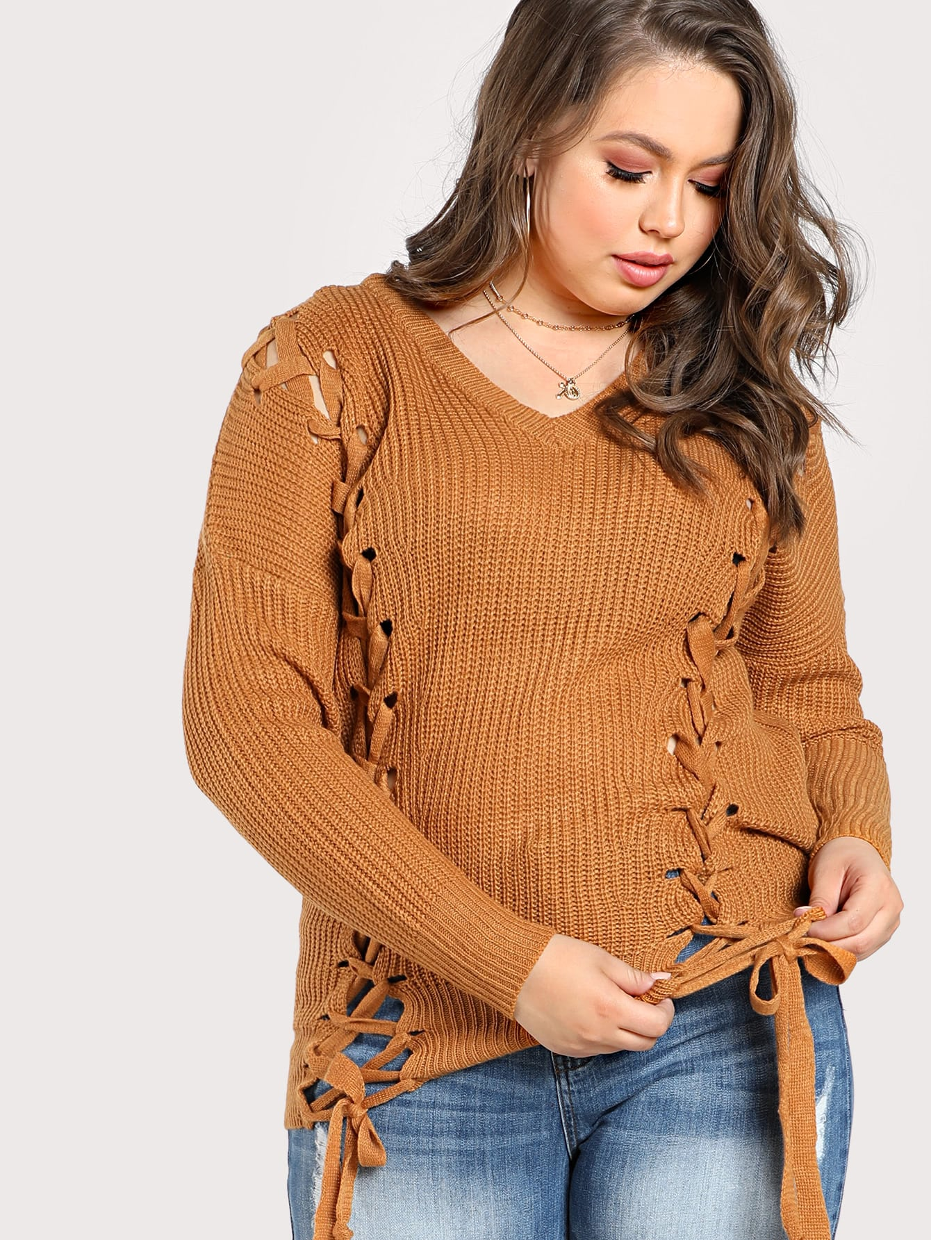 Plus Lace Up Braided Knit Sweater TAN
