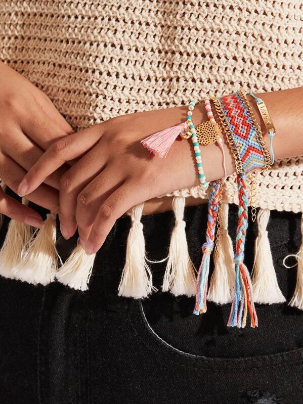 Woven & Beaded Bracelet Set With Tassel 4pcs