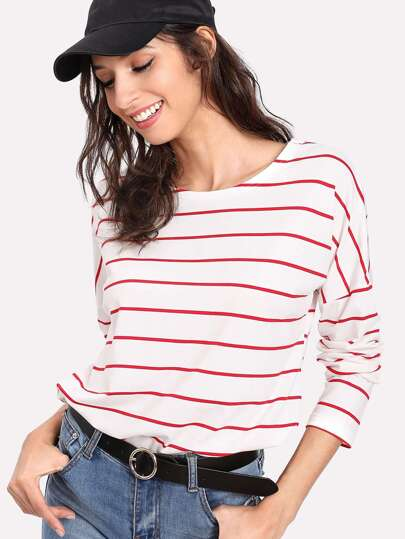 Striped Drop Shoulder T-shirt