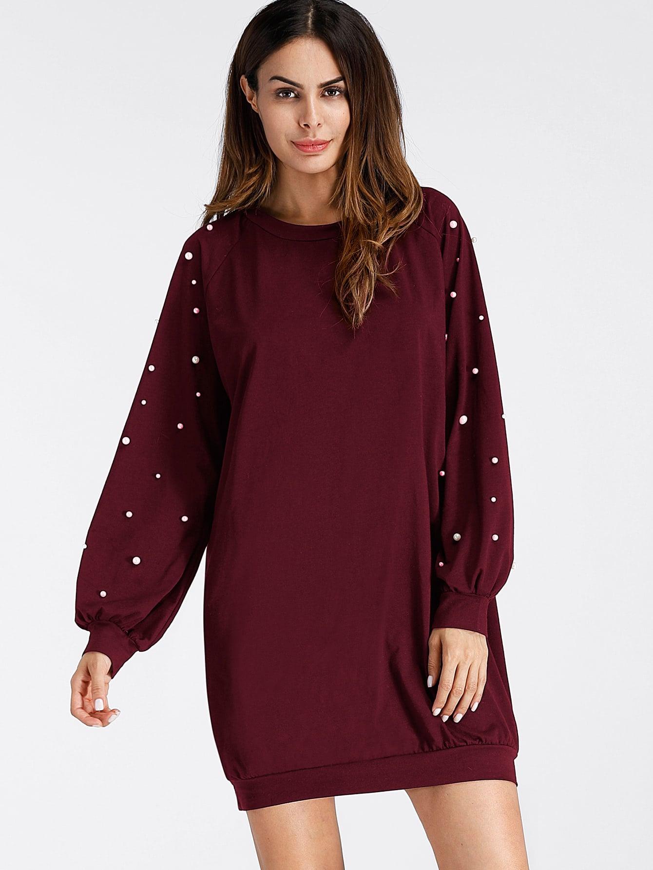Sweatshirt Kleid mit Perlen