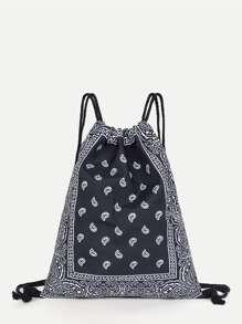 Paisley Print Drawstring Backpack