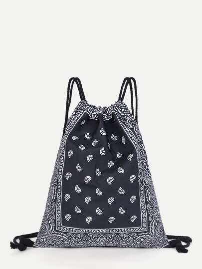 Paisley Print Drawstring Backpack