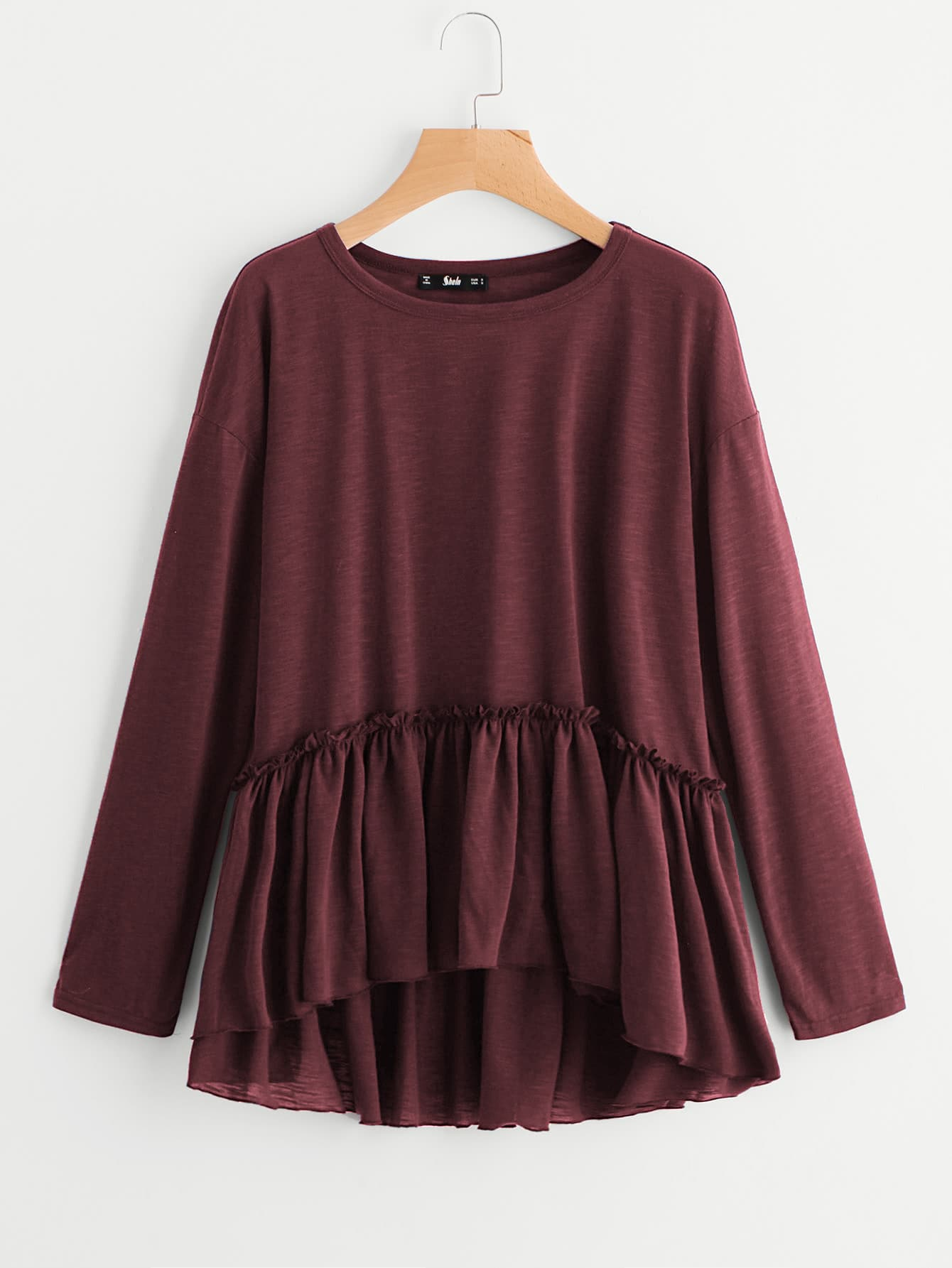 Frill Detail Drop Shoulder Smock Tee frill detail trumpet sleeve checked smock top