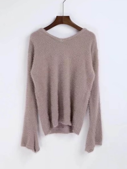 Lace Up Back Fuzzy Sweater