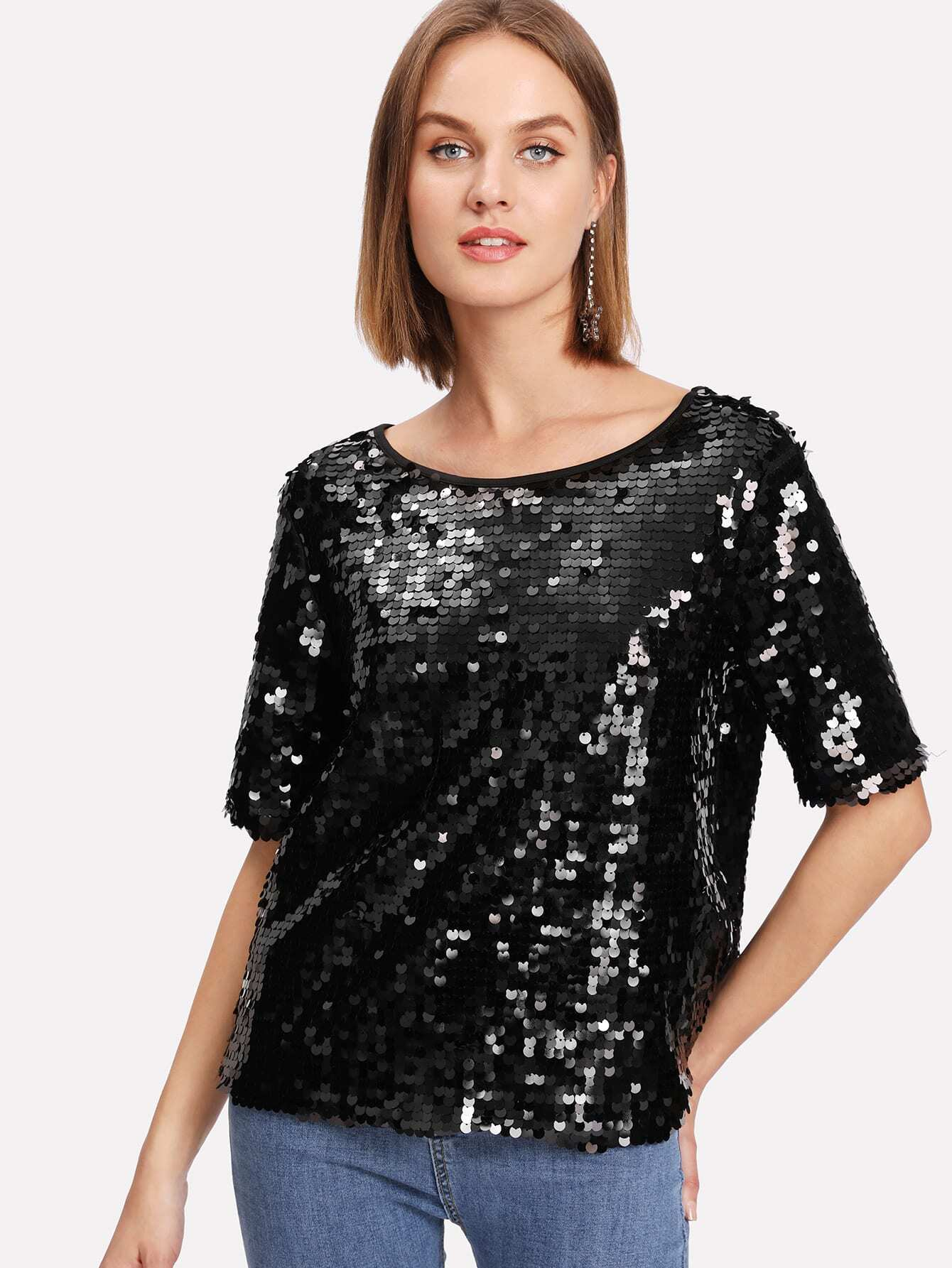 V Back Sequin Top