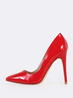 Solid Pointy Toe Pumps RED