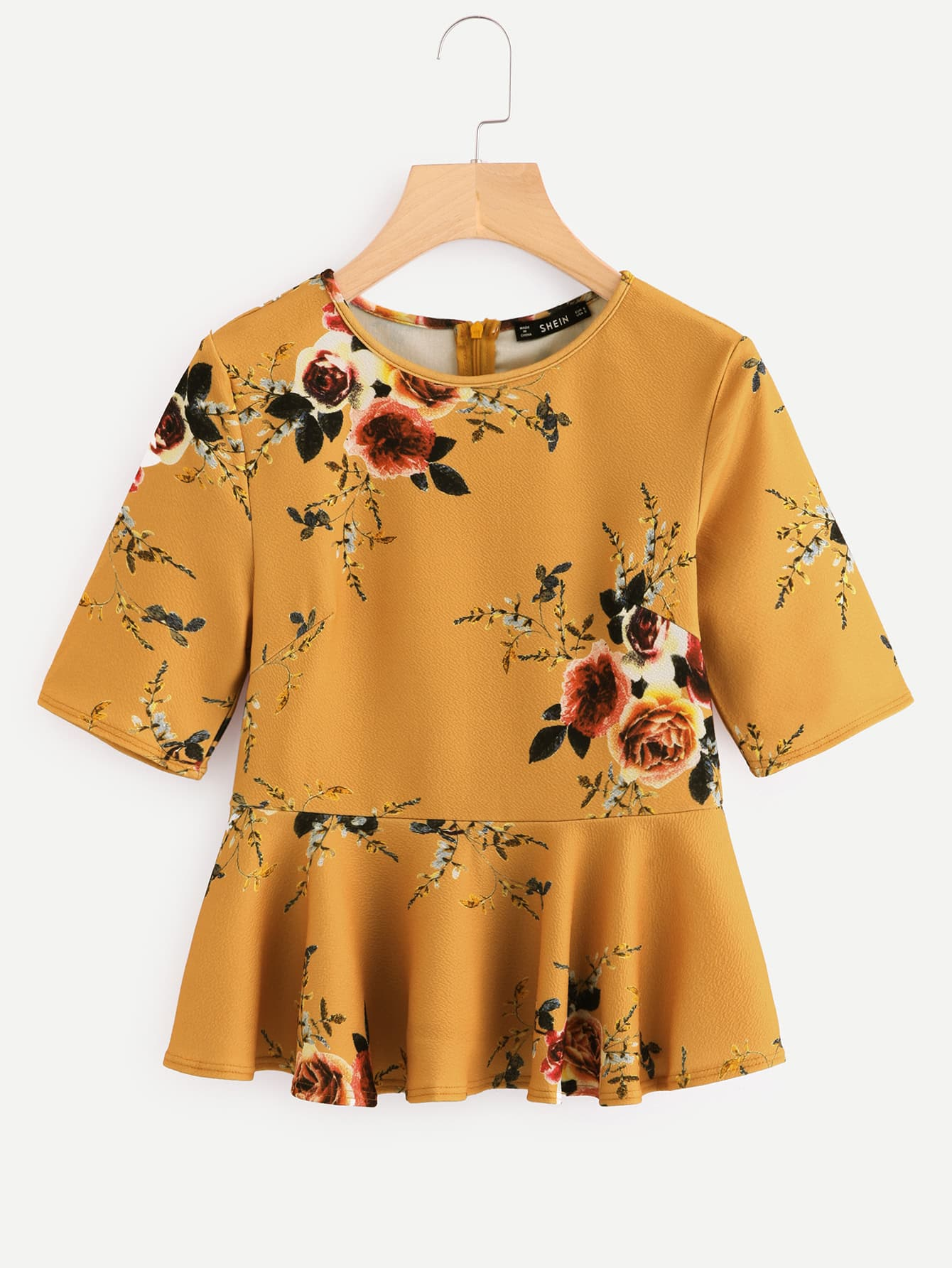 Zipper Back Ruffle Hem Peplum Top blouse171026702