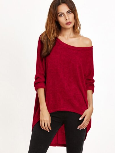 Burgundy One Shoulder Dip Hem T-shirt