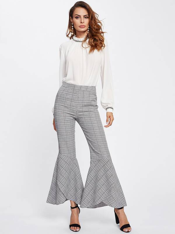 Checked Flare Pants by Sheinside