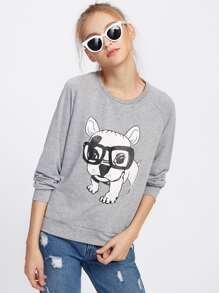 Raglan Sleeve Dog Print Sweatshirt