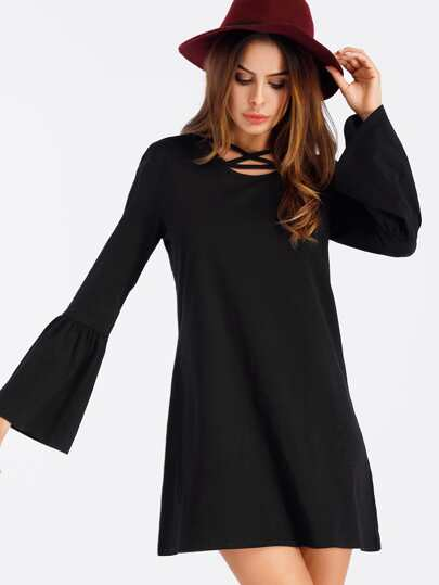 Strappy Neck Flounce Sleeve Tee Dress