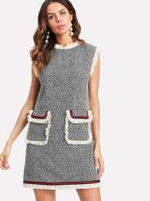 Striped Patched Fringe Trim Tweed Dress