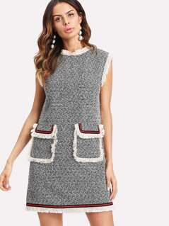 Striped Patched Fringe Trim Tweed Dress