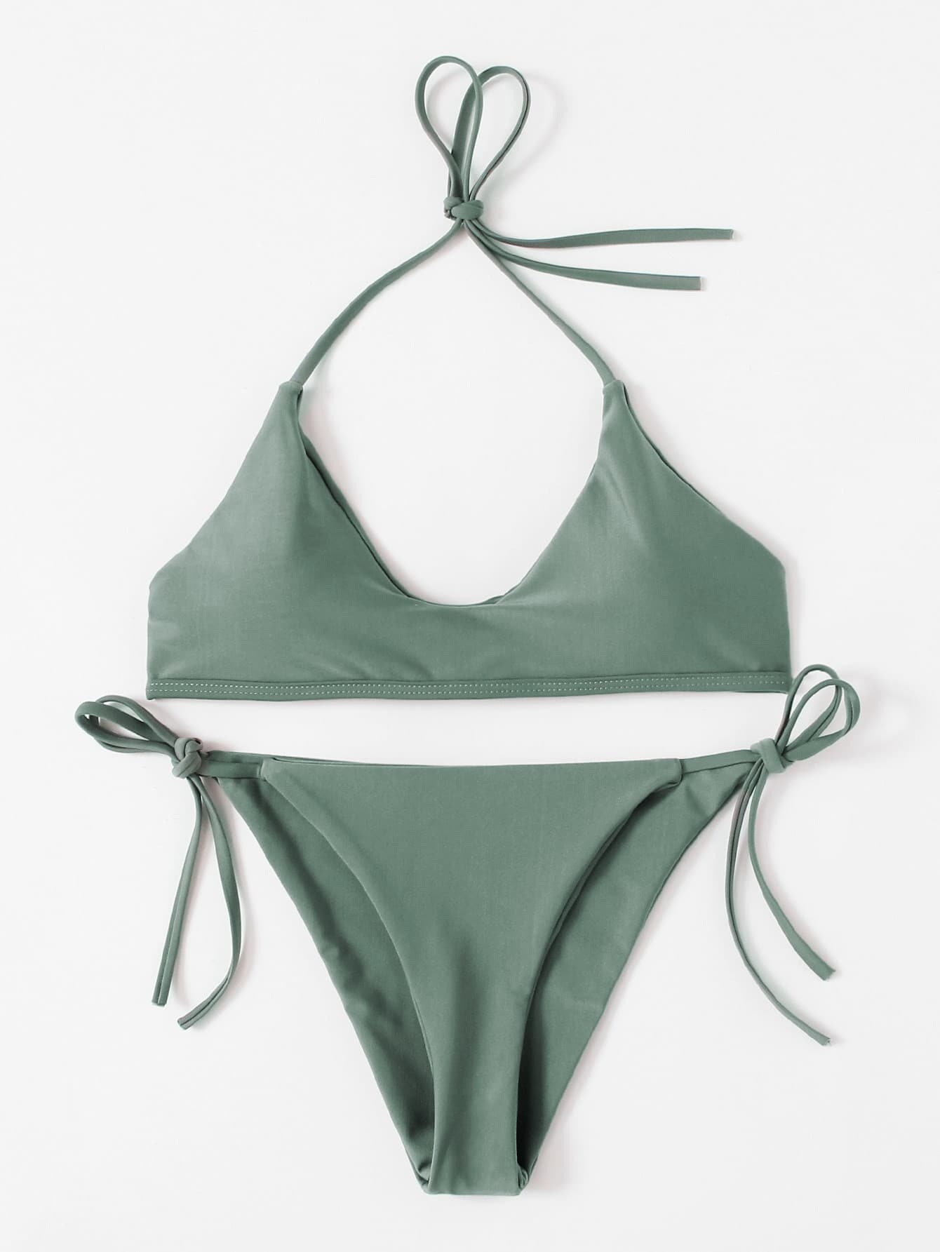 цена на Self Tie Halter Bikini Set