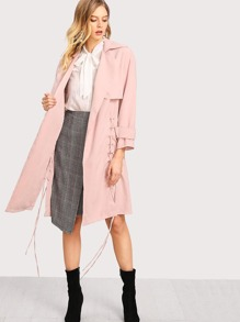Grommet Lace Up Side Trench Coat