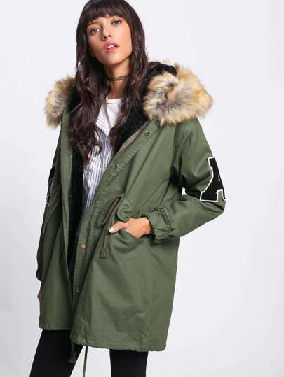 Faux Fur Lined Parka Coat -SheIn(Sheinside)