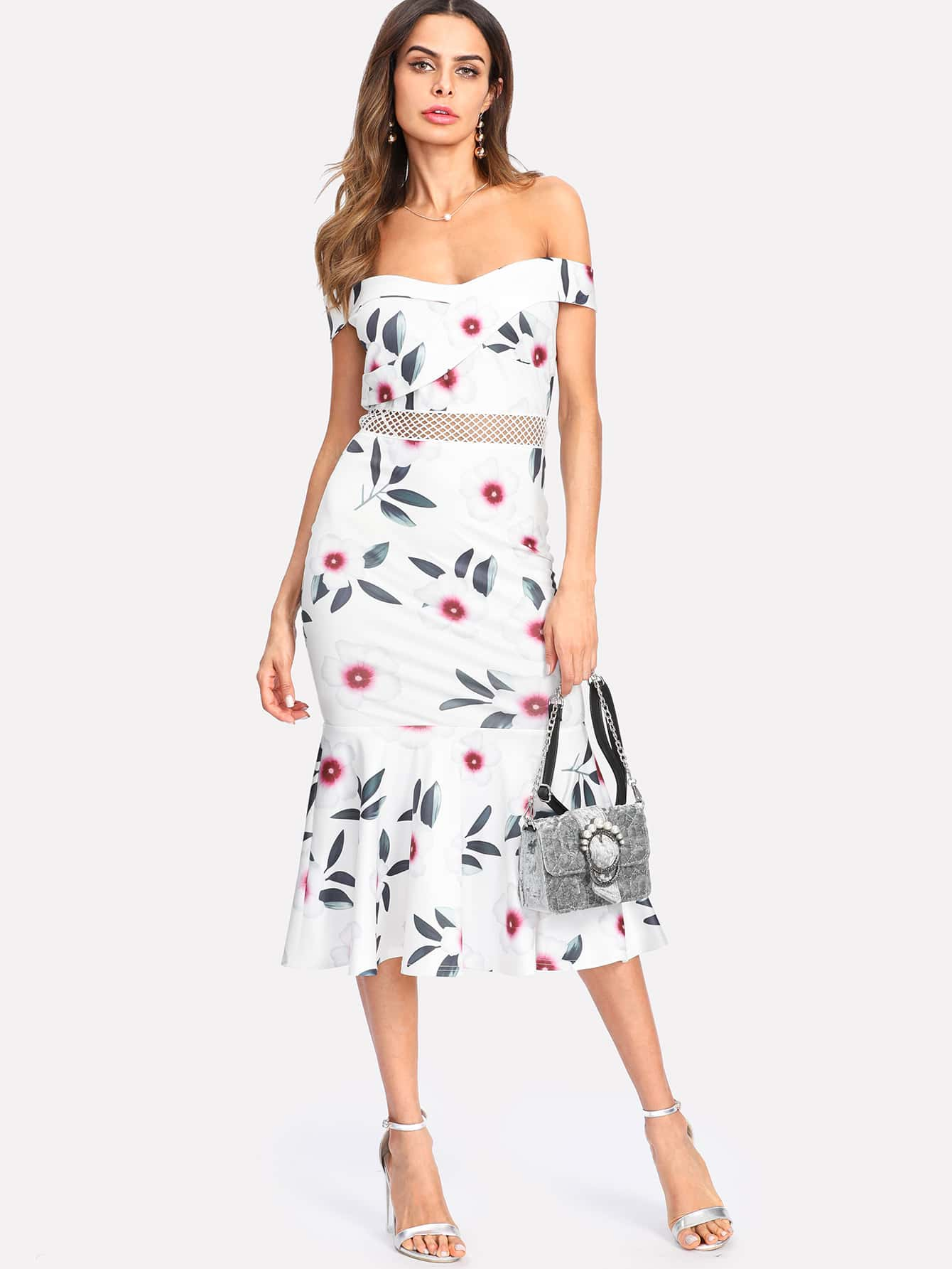 robe floral avec col bateau french shein sheinside. Black Bedroom Furniture Sets. Home Design Ideas