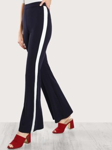 Wide Leg Contrast Striped Pants NAVY
