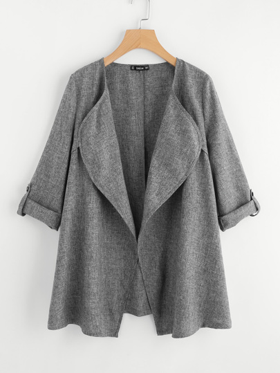 Rolled Up Cuff Drape Collar Marled Coat