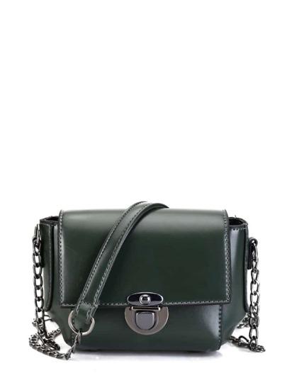 Faux Leather Push Lock Flap Bag